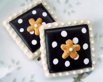 Polka Dot Sugar Cookies with Flower Design