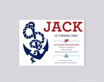 Nautical Birthday Invitation, Anchor Invite,  Red White and Blue Summer Birthday, Crab, Ship, Printable or Printed