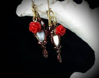 Beauty and the Beast Earrings, Blood Red Rose Bronze Hand Mirror Charms, Gothic Victorian Steampunk, Looking Glass Titanic Temptations 17021