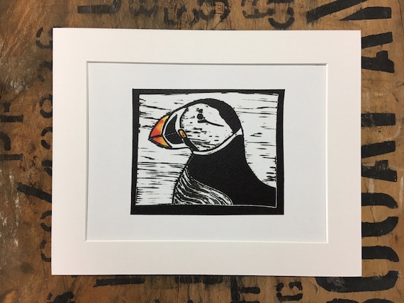 Puffin Mounted Print • Puffin Lino Print • Puffin Illustration • Puffin Wall Art • Puffin Art • Seaside Decor • Gift For Puffin Lovers