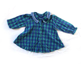 vintage dress girls childrens 80s plaid blue teal flower collar 1980s clothing size 3t 4t