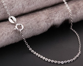 925 Sterling Silver Solid 1MM Link Chain Necklace for Pendant 40cm 45cm