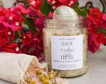 Bamboo Lemon Verbena Tub Teaz by Santa Barbara Aromatics   Himalayan Salt   Detox Salt Soak  Gift For Her   Tub Tea