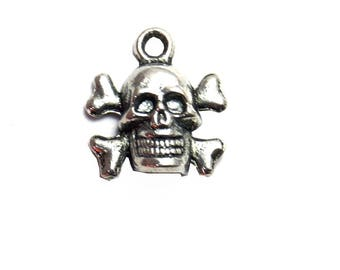 5 charms skull / skeleton / bones, 14x13mm, silver, set of 5