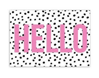 Map, Hello, I think of you, pink, dots, tyografie, colorful, post, stationary, A6