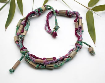 Eco knitted necklace with bamboo beads, burgundy green, OOAK