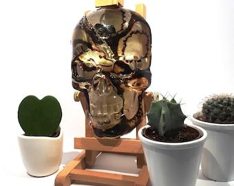 wall skull, Skull wall plaque, Gold & Black Ink Skull, Abstract Art Skull, Resin Skull, skull lovers, Gothic home decor, skulls,
