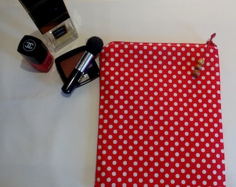 Red Cotton Zippered Pouch for Make Up/Cosmetics