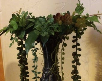 Succulent candle rings, candle wreath, base is grapevive ring, Rustic design.