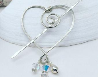 Sterling Pin, Shawl Pin, Heart Jewelry, Swarovski Crystal Pin, Valentine Gift, Winter Wedding Jewelry, Bridal Jewelry, Bride Hair Accessory