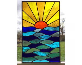 Handmade Stained Glass Window Panel, Sun and Sea design Traditionally Made, Made to Order