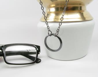 Silvery Black Lanyard for Glasses; Eyeglass Holders Necklaces; Black Glasses Lanyard; Black Glasses Chain; Eyeglass Lanyard; Eyeglass Loop