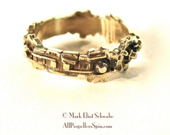 SteamPunk sweetheart ring - wedding band, brass - key to his/her heart, ONLY ONE LEFT