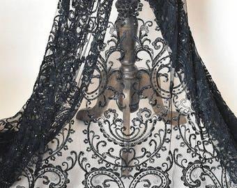 Black embroidery Soft gauze mesh beading lace   fabrics wedding gown fabric,bridal dress tulle lace  1 yard LLHB29B