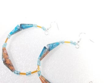 Funky turquoise blue and creamy orange earrings