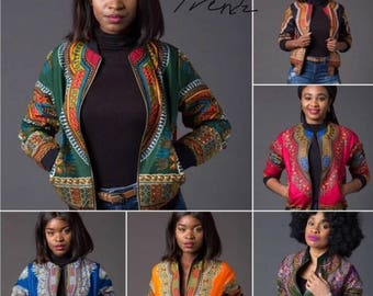 EXCLUSIVE...Traditional African Ankara Print Style Bomber Jacket Coat