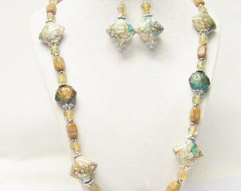 Irregular Caramel Stone Bead w/Acrylic Rhombus Bead Necklace/ Bracelet/Earrings