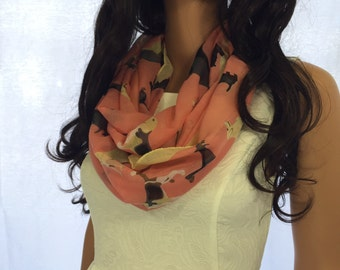 Dog Print Scarf Infinity Scarf,Animal Scarf Winter Spring Scarf Women Fashion  Accessories , peach color