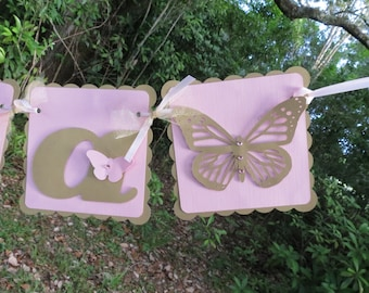 "Butterfly - ""NAME"" banner - Gold Shimmer and Pink"