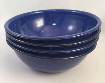 """Set of 4 Enamelware Cereal/Soup Size Bowls, Blue with White Speckles, Rustic Enamelware for Camping Bowls 6-1/4"""" Across, Great Condition"""