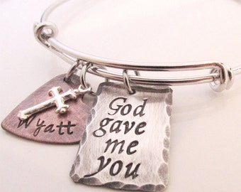 God gave me you Bracelet  - Rustic Charm Bracelet - Personalized Jewelry - Hand stamped Jewelry