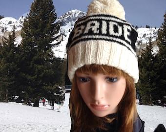 Bride Pom Pom Beanie, Retro Ski Hat for Photo Props, Snowboard Beanie for Winter Wedding, Handknit Hat for Bachelorette Parties, Bride Hat