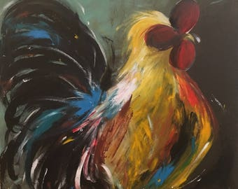 Original Rooster Painting on a Wood Panel Farmhouse Art Turquoise