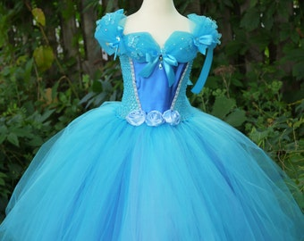 Cinderella inspired tutu dress, blue princess ballgown, birthday princess costume dress, princess costume