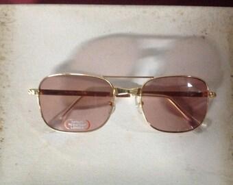 True Vintage MOD Aviator Sunglasses Gold Metal Frame Pink Glass Lenses Japan NOS 1232