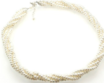 Freshwater Pearl Twist Necklace - Cream