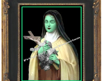 Zombie Nun Art Print 8 x 10 - Pop Surrealism Psychobilly Goth Horror