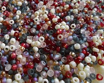 8/0 Miyuki and Toho Seed Bead Mix, 25 grams, Wines/Cream/Crystal/Gray (0051)