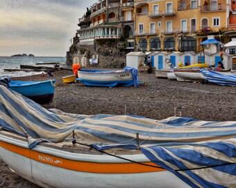 Positano Photography Italy Photography, Amalfi Coast, Boats, Wall Art, Large Wall Art, Home Decor, Italy, Fine Art Photography, Travel Photo