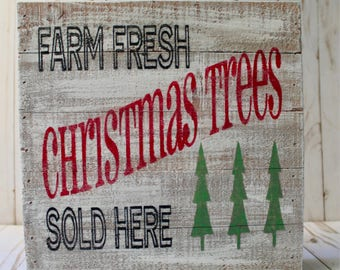 Farm Fresh Christmas Trees Sold Here Sign