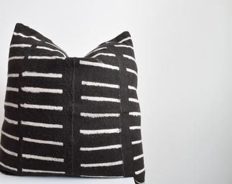 Authentic Vintage African Mud Cloth Pillow Cover, Black with White Line Details