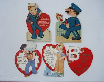 Vintage Valentine Cards  (set of 5)