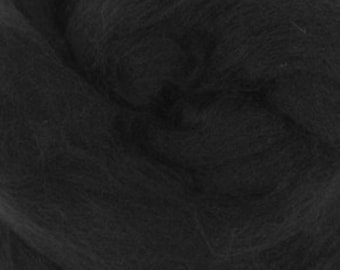 Black Merino Tussah Silk Combed Top Wool One Ounce for Felting and Spinning