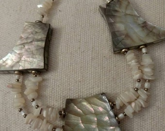 Mother Of Pearl Beaded Necklace, Large Mosaic Pattern Accents, Art Deco, Unique Style, Bohemian, Beach Accessory