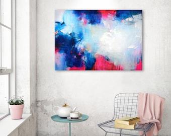 Originele grote abstract schilderij, abstracte kunst, olieverfschilderij, acryl artwork, kleurrijk schilderij, vet fuchsia oranje donker blauw schilderij