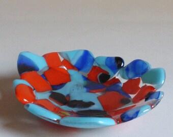 Fused glass bowl - blue / orange art  glass