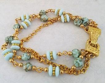 Green Vintage Bead 3-Strand Bracelet. Green Bracelet, Triple-strand Bracelet