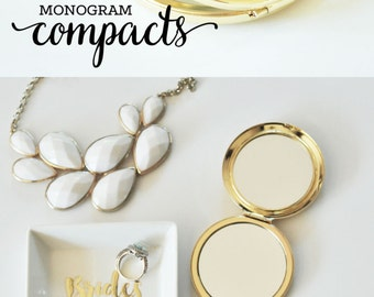Gifts for Bridesmaids - Sorority Gifts for Sisters Birthday Gifts for Her - Personalized Gifts for Women - Initial Monogram Compact (EB3137)