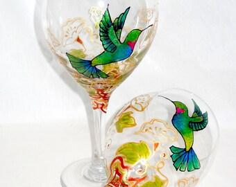 Hummingbird Wine Glasses Custom Art on Glass Hand Painted Wedding Glassware ~ Pair