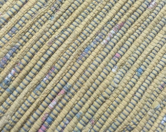 "Hand Woven Rag Rug - Soft Yellow Cotton 26"" x 32"""