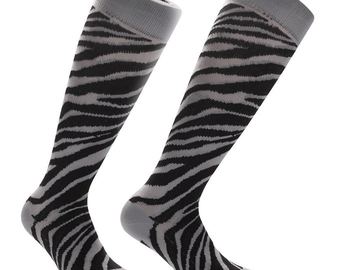 Samson® Safari Zebra Animal Funky Socks Sport Knee High Sport Football Rugby Soccer