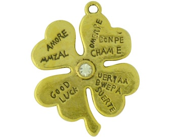 5 Gold Four Leaf Clover Charm Good Luck Pendant 31x25mm by TIJC SP1328