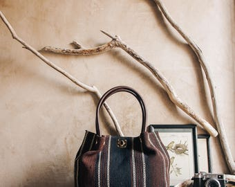 "Kilim Tote Bag, Boho Bag, Turkish Kilim, Leather Bag, Travel Bag, Vintage Bag, Boho Bag, Shoulder Bag, Boho Chic  45 x 35 cm / 18"" x 14"""