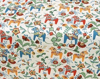 Fabric yellow red blue green small Swedish Dala Horses Modern Scandinavian Design Cotton Fabric Scandinavian Design Scandinavian Textile