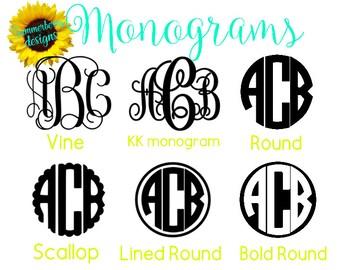 Monogram Vinyl Decals