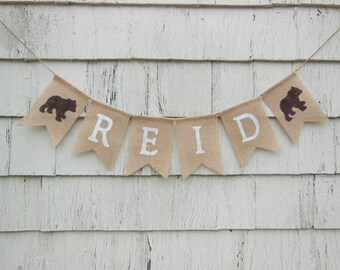Bear Woodland Nursery Decor, Custom Personalized Name Banner, Bear Baby Shower Decorations, Woodland Baby Shower, Woodland Baby Banner